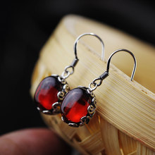 Silver Product New Womens Strongly Recommend Fashionable Red Just Lorraine Cane Hollow Out S925 Eardrop It