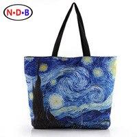 Factory Direct Sales Van Gogh Literary Youth Single Shoulder Bag Printing Zipper Environmental Shopping Bag BHB1009