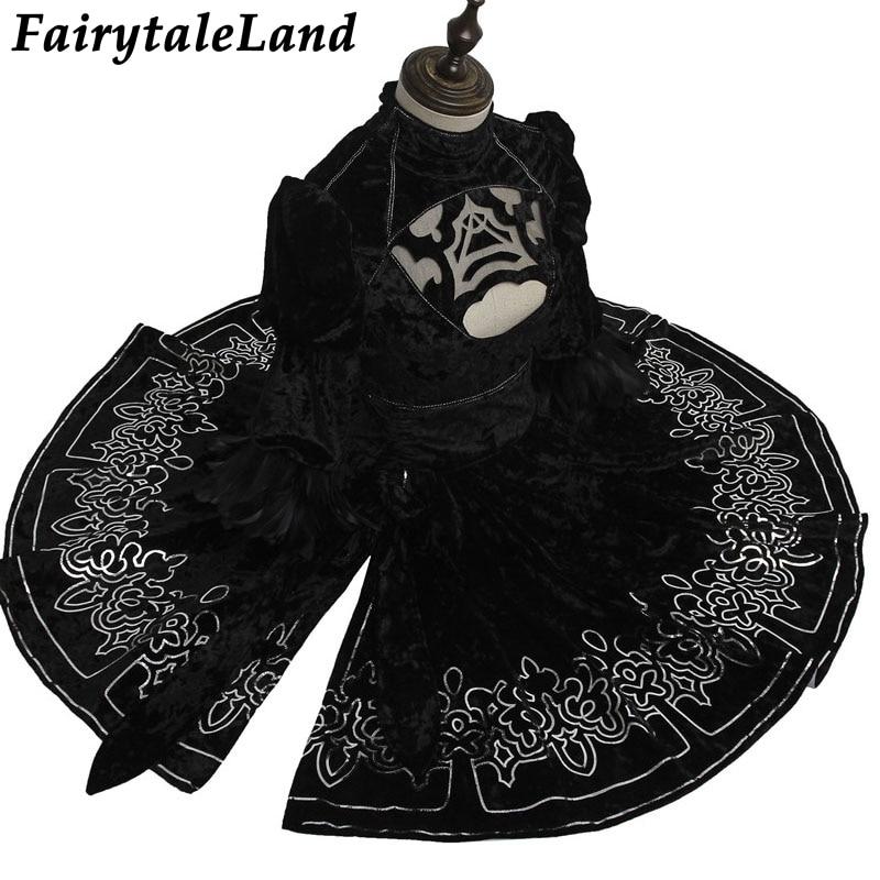 Hot Game NieR:Automata YoRHa 2B Cosplay Costume Halloween Costumes For Adult Women Nier 2B Dress Custom Made
