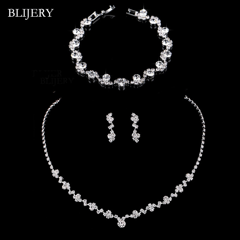 BLIJERY Bridal-Jewelry-Sets Bracelet Necklace Earrings Choker Crystal Silver-Color Fashion