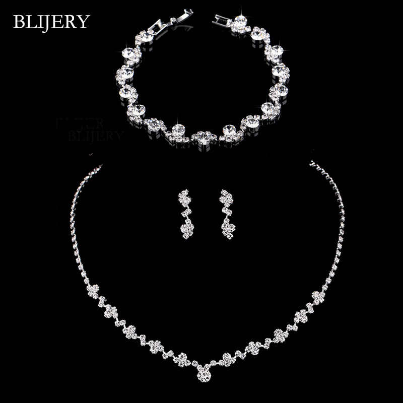 BLIJERY Fashion Crystal Bridal Jewelry Sets Silver Color Geometric Choker Necklace Earrings Bracelet Wedding Jewelry Sets