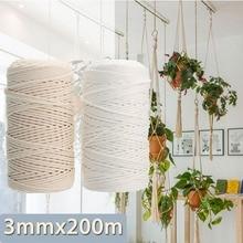 KiWARM 3mmx200m Natural Beige White Cotton Twisted Cord Rope Craft Macrame String Handmade Decorative Accessories