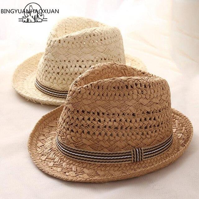 724279343a4a1b BINGYUANHAOXUAN 2018 Summer Parent-Child Raffia Straw Jazz Hat With Bands  Women Kids Beach Hollow Sun Caps UV Protection