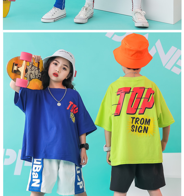 Kid clothes girl Boy set Summer 2019 4 6 8 10 12 14 Years Hip Hop T shirt Pants dance costumes kids boys Girls young clothes (1)
