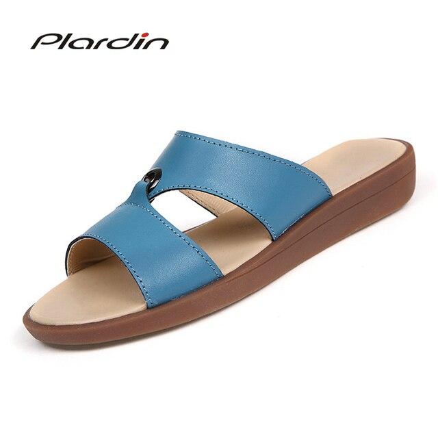 5a7326bdda8f16 Plardin Bohemia Summer Casual Women wedges Flat Sandals Platform 2018 Woman  Ladies Beach Shoes Flip Flops Genuine leather shoes