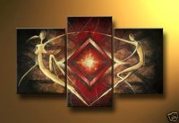 Hand Painted Wall Art African Flying Sunshine People Decoration Abstract Landscape Oil Painting On Canvas 3pcs