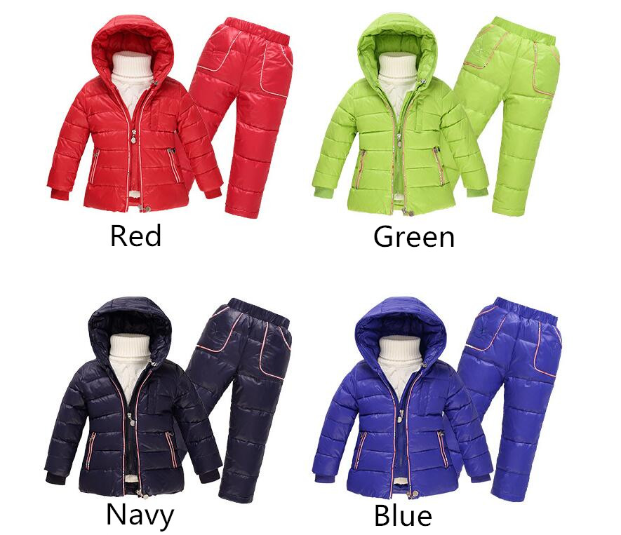 3 Adet/takım Aşağı Ceket Ceket + Yelek + Aşağı Pantolon Kış Çocuk Çocuk giyim Spor Kayak takım Kız Erkek Toddler Snowsuit Aşağı Palto
