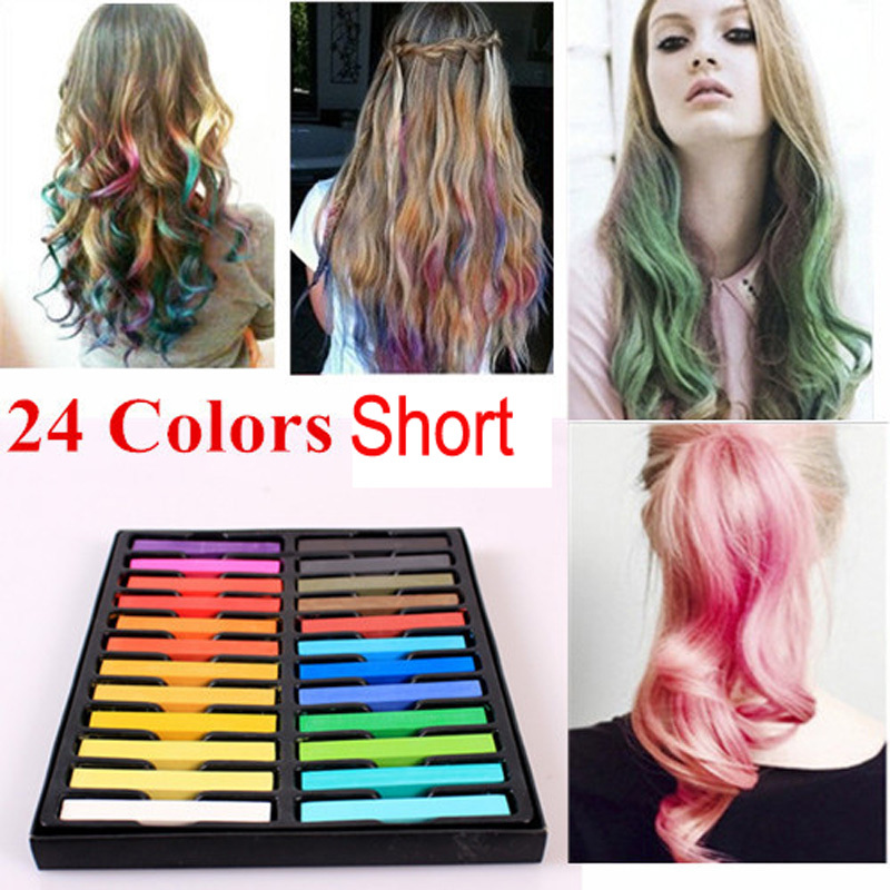 24 Colors Hair Chalk Temporary Non Toxic Hair Manic Panic Crayons