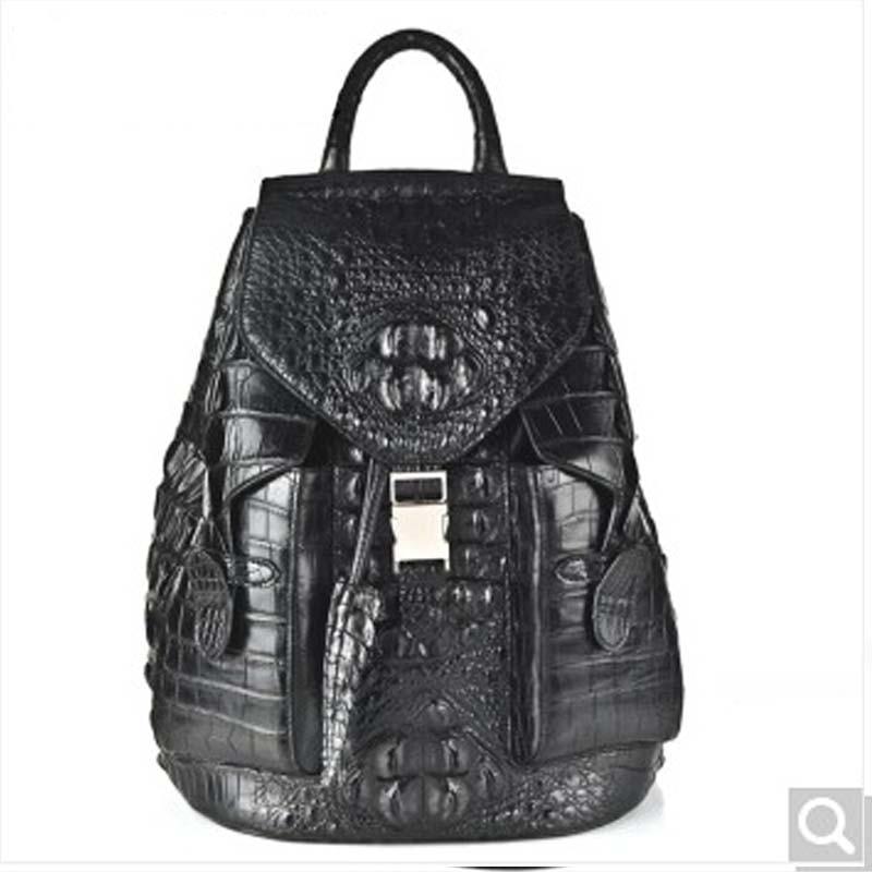 weitasi Crocodile leather men backpack double shoulder bag men bag black crocodile leather shoulder bag 42*30*15