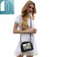 MAIDUDU Genuine Leather Natural Flower And Bird Pattern Embossed Womens Handbags Simple Chain Ladies Shoulder Messenger