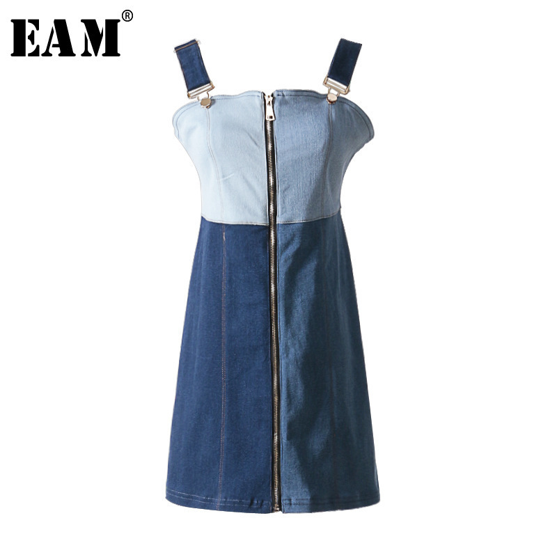 [EAM] 2018 New Summer Fashion Tide Strapless Adjustable Spaghetti Strap Patchwork Hit Color Zippers Woman Dress S767