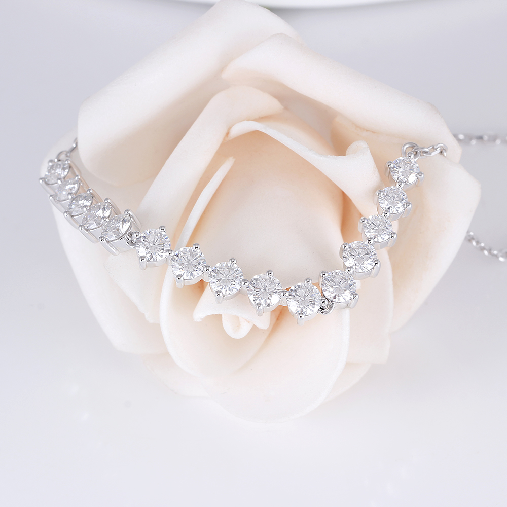 Elegant Sterling 925 Platinum Plated Silver 3ct 3.5mm-4mm-3.5mm H-I Color Moissanite Pendant Choker Necklace(5)