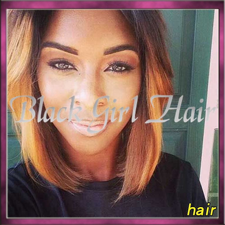 2015 New Ombre Short Wig Brazillian Straight Hair Side Part Kinky