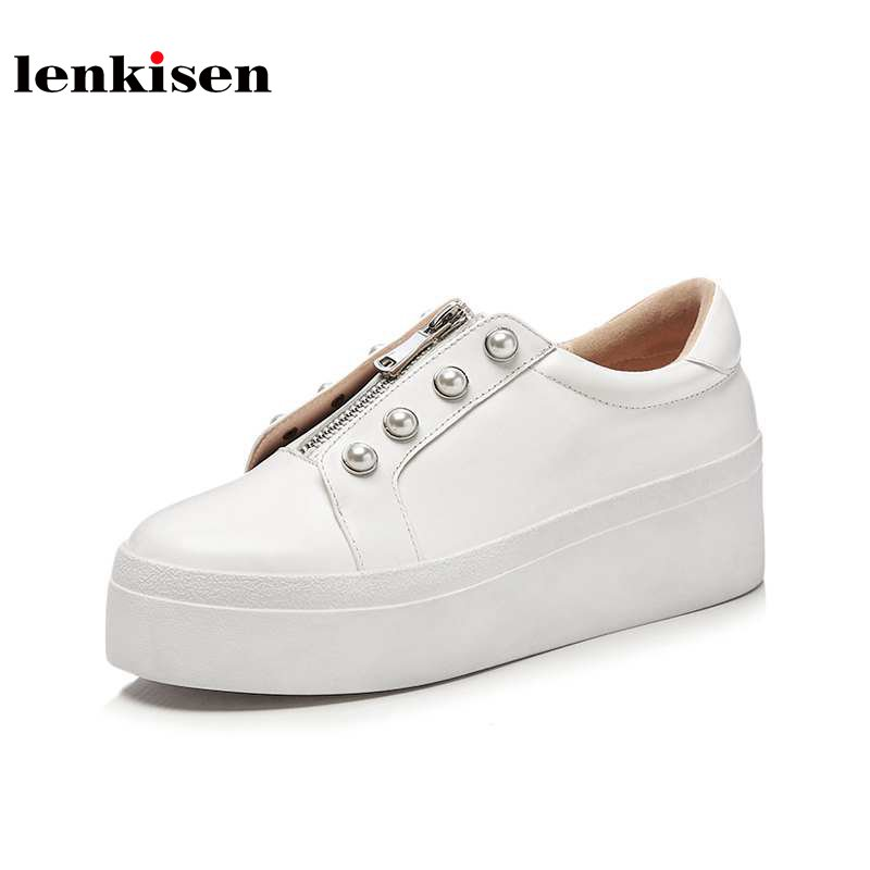 Lenkisen new genuine leather round toe zipper pearl sneaker fashion high heel vulcanized shoes increased running women shoes L30