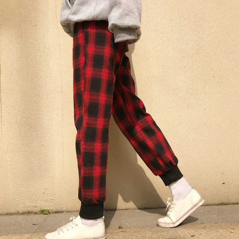 2018 New Arrival Hip Hop Black Red Plaid Harem Pants Men Vintage