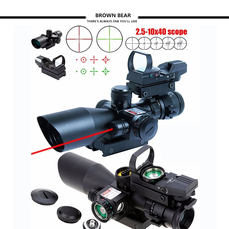 Tactical Sight 2.5-10X40 Rifle Scope w/Red Laser&Holographic Green/Red Dot Sight 2 5 10x40 tactical rifle scope w red laser