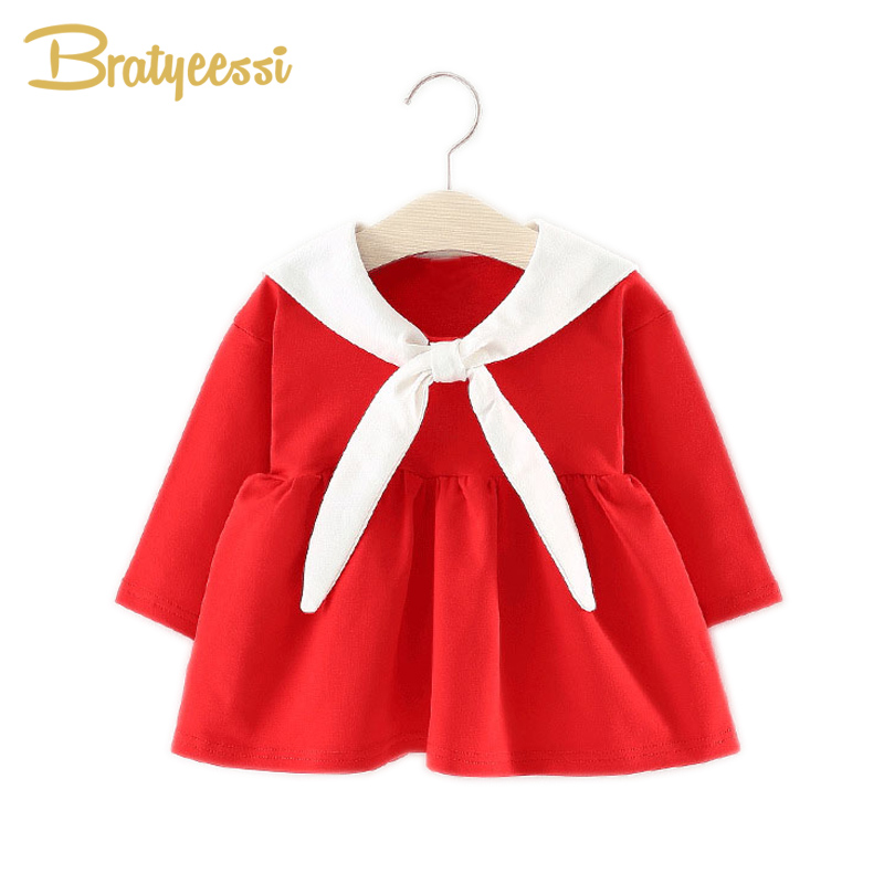 Preppy Style Baby Girl Dress Cartoon Long Sleeve Baby Dress for Girl Cute Cotton Infant Baby Clothes