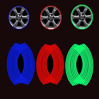 16pcs/set Car Styling 17 18 Wheel Rims Tire Tyre Hub Refective Stickers Strip Decal Tape Safety For Audi BMW Toyota Ford image
