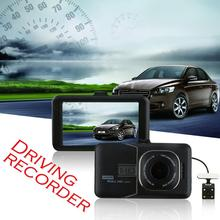 цена на 3 Inches Car DVR Dual Lens Camera HD 1280x1080 Video Short Range Camera G-Sensor AV-Out, HDMI, USB2.0, Micro SD/TF 1080P Car DVR