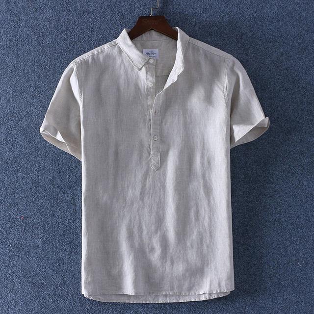 Schinteon 2019 100% Linen Summer Casual Shirt Men Breathable Turn-down Collar Short Sleeved Pullover Shirt Comfortable New