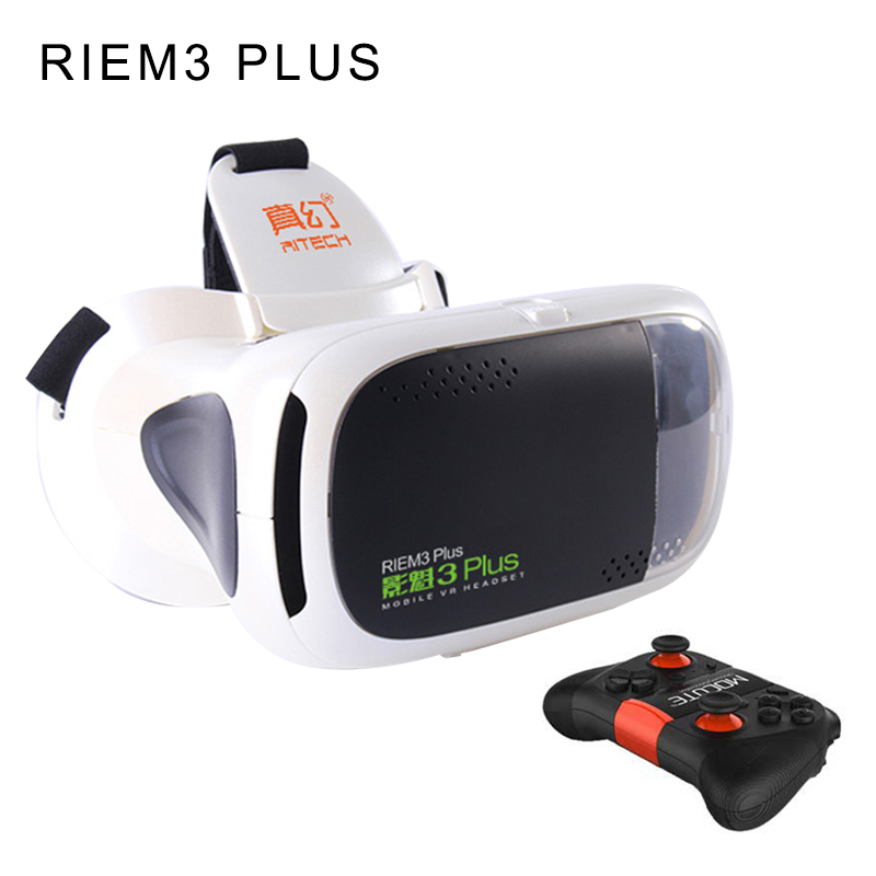 <font><b>RITECH</b></font> RIEM3 <font><b>Plus</b></font> 3D <font><b>VR</b></font> <font><b>Glasses</b></font> Private Theater Game Video Virtual Reality Headset + Wireless Bluetooth Remote Control Gamepad
