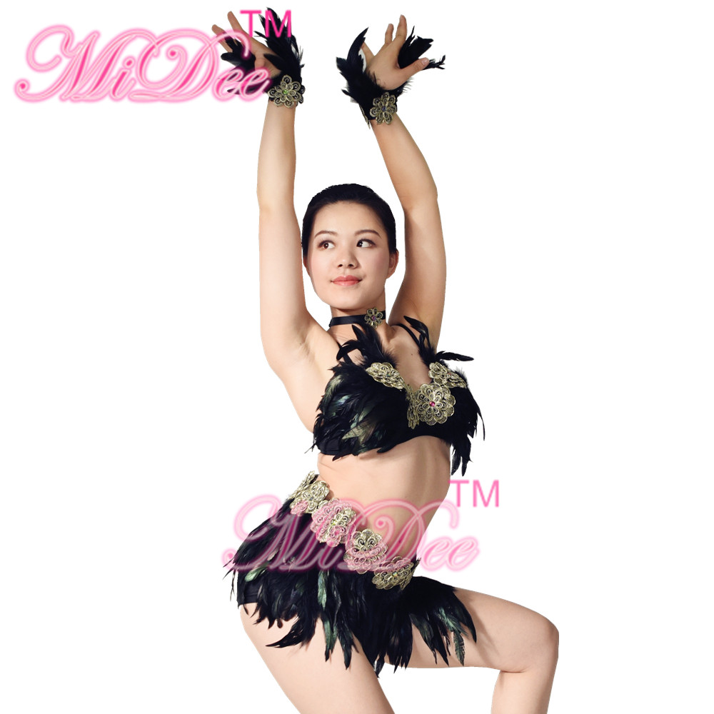 8d9147f65dd88 Feather Sexy Women Samba Dancing Dress Enthusiast Night Club Costumes Salsa  Rumba Dance Costumes