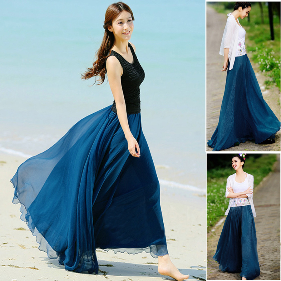 d872abb1629 New 2014 Women Summer Long Skirts Desigual Chiffon Maxi Skirt Bohemian  Summer Beach Pleated Skirt Female 5 Colors Free Shipping