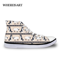 WHEREISART Retro 2019 Women Vulcanize Shoes Casual Sneakers Border Collie Print Canvas Shoe High Top Lace up Flats Dropshipping