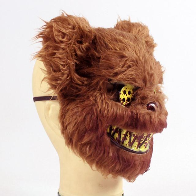 2019 New Bloody Teddy Bear Mask Masquerade Scary Plush Mask Halloween Performance Props Fashion Halloween Supplies 4