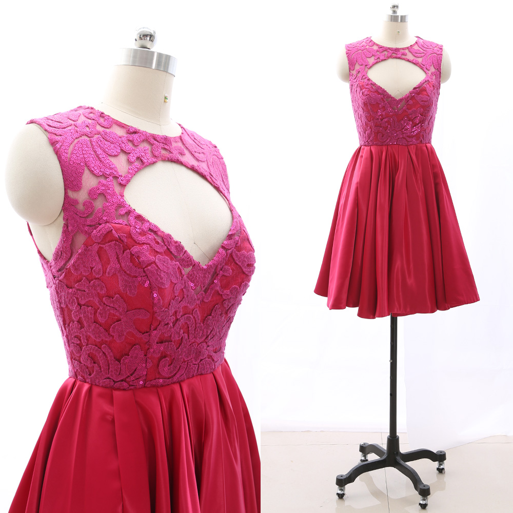 MACloth Fuchsia Short Scoop Neck Knee-Length Short Embroidery Tulle Prom Dresses Dress M 265441 Clearance