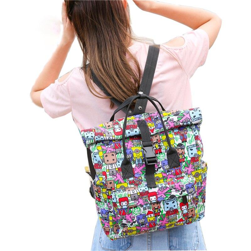 Woman Canvas Printing Graffiti Printing Backpack School Bags Teenage Waterproof Casual Mochila Feminina Small School Backpack