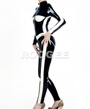 New fashion patchwork clothings latex catsuit zentai