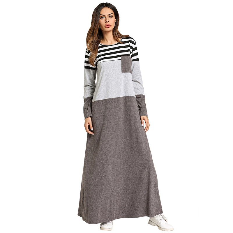 Fashion Muslim Abaya Stripe Maxi Dress Kimono Long Robe Gowns Tunic Loose Style Jubah Ramadan Middle East Arab Islamic Clothing
