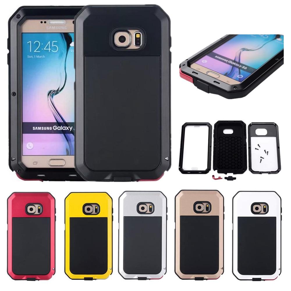 imágenes para Prueba de Choques impermeable de Aluminio Del Metal Del Teléfono Casos de La Cubierta Para Samsung Galaxy S5 S6 S6 Edge Plus Nota 3 4 Cover + vidrio Templado