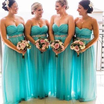 Blue Bridesmaid Dresses Cheap 2019 Sweetheart Neckline Pleats Crystal Belt A Line Chiffon Wedding Guest Dresses