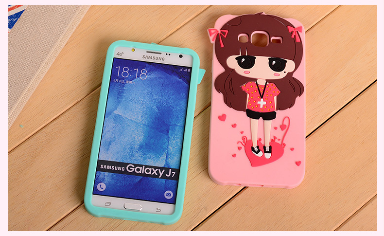 hot sale online a8a36 66c27 US $5.69 |For Samsung Galaxy J7 J700 Cover 3D Cute Cartoon girl Despicable  Me Yellow minion soft silicone Cover Case +With a free Gift on ...
