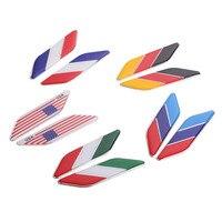Yawlooc 2Pcs 3D Car Sticker Italy BWM Germany USA France Flag Emblem Badge Decal Sticker Car