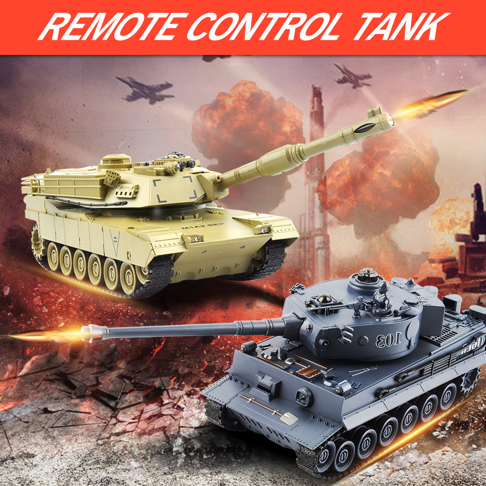 цена на 2 pcs/set RC Tank 27Mhz 40Mhz 9CH RTR GE Tiger 103 VS US M1A2 Remote Control Fighting Battle Tank with Musical and Flashing