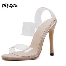 brand design Sexy Sandal Style PVC Clear Transparent Back Strap High Heel Sandals Plus Size Custom Stilettos Women Shoes