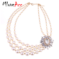 Euro American Multi Layers Choker Necklace Best For Evening Dress Fashion Statement Necklaces Women Simulated Pearls