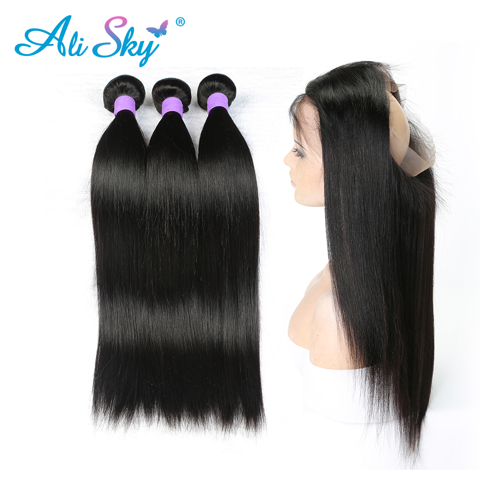 Discreet Ali Sky Peruvian Straight Hair 360 Lace Frontal Pre Plucked With Baby Hair With Bundles Non Remy Hair 3 Bundles Bundles Frontal Buy Now 3/4 Bundles With Closure
