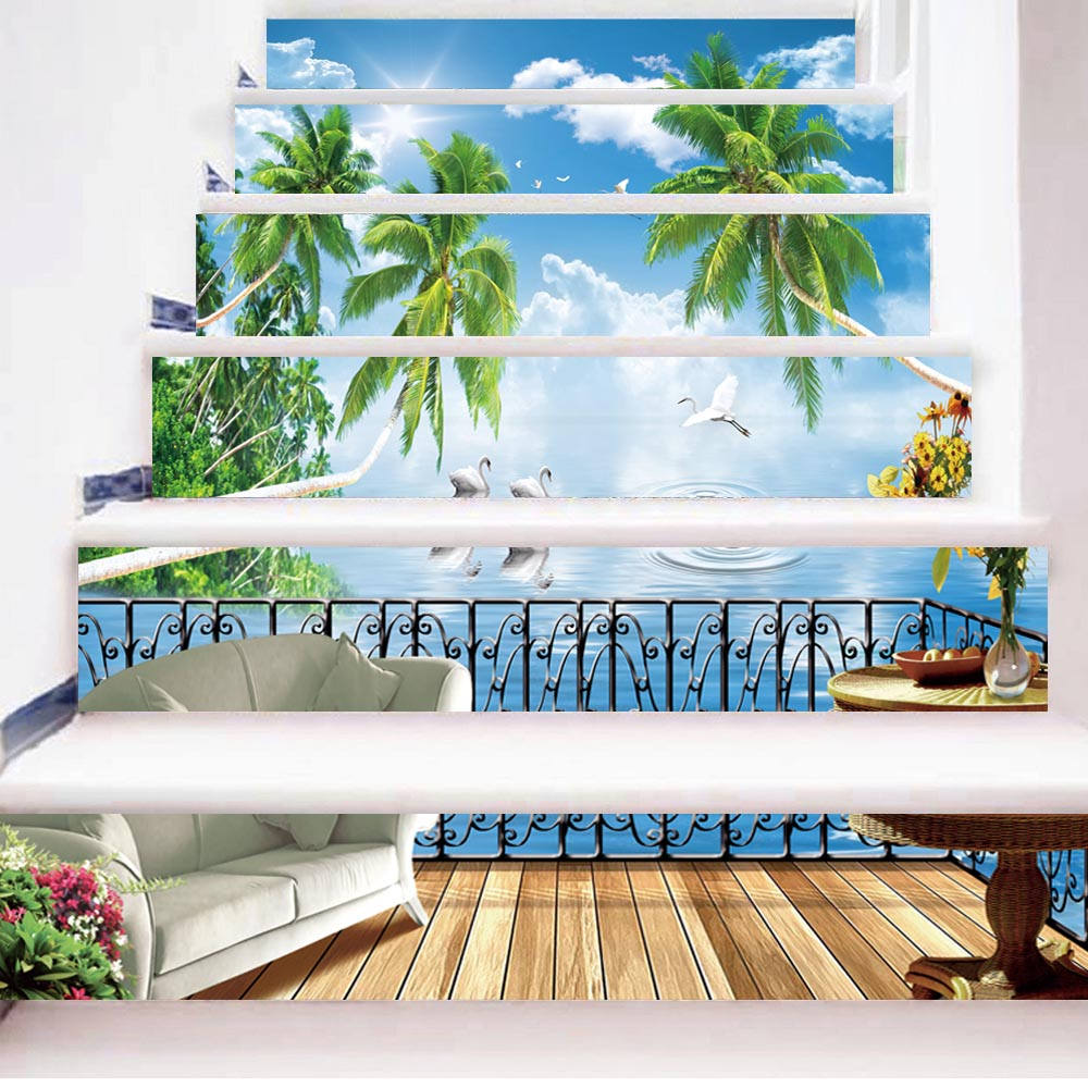 3d Creative 6pcs/set Diy Steps Stair Stone Holiday Island Scenery Wallpaper Poster Pattern Landscape Home Decoration