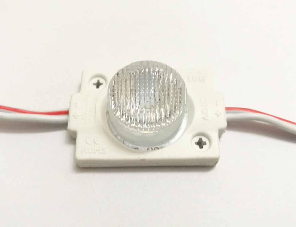 100pcs DC12V High Power Waterproof LED Module With Injection Len (1LED, White, 1.5W) For Double-sided Lightbox High Brightness