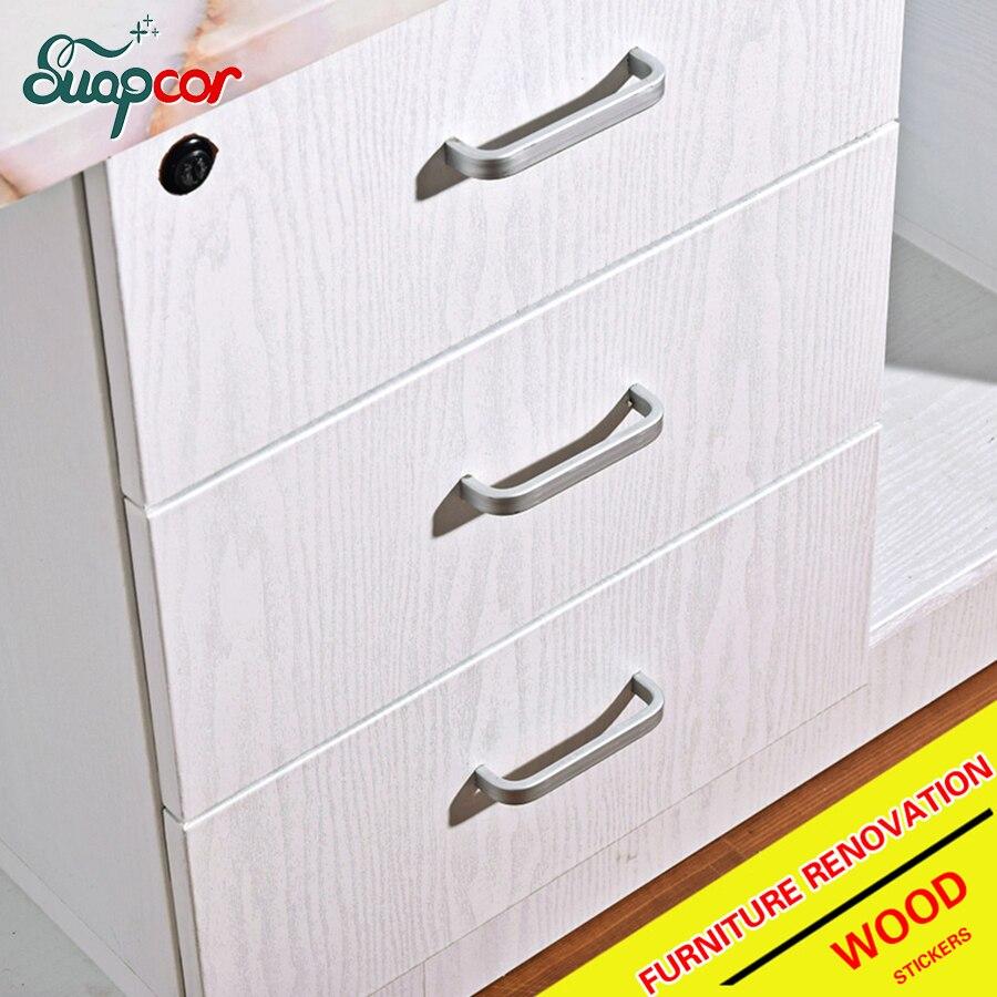 New Home Decor Waterproof Wood Grain Stickers Furniture PVC Self Adhesive Decorative Films Wardrobe Door Kitchen Wall Stickers