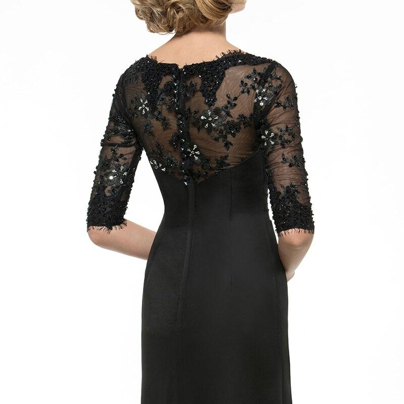 Dressv Black Long Mother Of The Bride Dress A Line Half Sleeves Beading Lace Pleats V Neck Custom Wedding Party Mother Dress