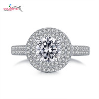 COLORFISH Luxury 1ct Round Double Halo Engagement Rings For Women 925 Sterling Silver High Quality Cubic Zirconia Wedding Ring