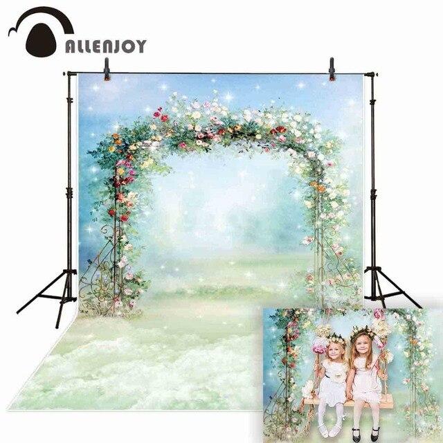 Allenjoy Fotografie Photophone Achtergrond Schilderij Bloem Boog Frame Bruiloft Lente Pasen Kind Achtergrond Photocall Photobooth