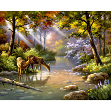 Couple Deers Creek Scenery DIY Digital Painting By Number Modern Wall Art Canvas Painting Christmas Gift Room Decor 40x50cm(China)