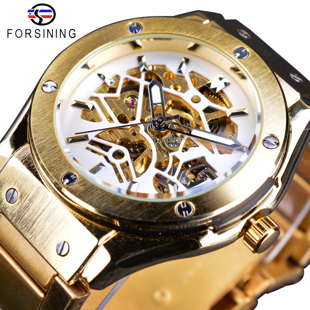 Forsining Golden Stainless Steel Sport Casual Steampunk Open Work Men Watch Top Brand Luxury Luminous Automatic Skeleton Watches festoon 42mm 6w 540lm 12 smd 5630 led white light car reading lamp license plate light 12v page 5