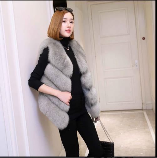 Fluffy Gilet Taille Gilets Moelleux Manteau La Vestes De D'hiver Fourrure Femme Fausse 2018 Femmes Z12 Plus Faux Artificielle 0nqFZ01